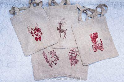 Льняные сумочки с вышивкой